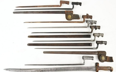 LOT OF 9: 19TH CENTURY UNITED STATES MILITARY BAYONETS.
