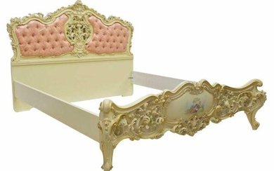 LOUIS XV STYLE PARCEL GILT & PAINTED BED