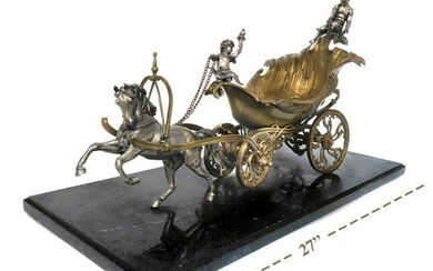 Large 19th C. Gilt & Silvered Bronze Figural Carriage