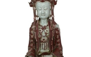 Large Antique Chinese Longquan Glazed Guanyin