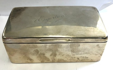 Large Antique silver cigarette box, Birmingham silver hallma...