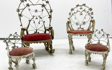 Lot of 1920's Prisoner Made Folk Art Doll Chairs