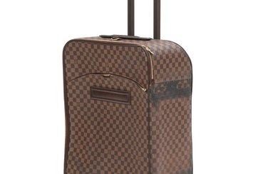 """Louis Vuitton: A """"Valise Pegase"""" suitcase made of brown Damier Ebene canvas, one large compartment, two zipped pockets. H 70 x L 4 x B 25 cm."""