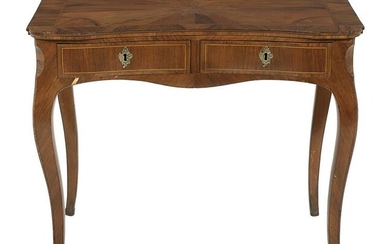 Louis XV-Style Parquetry-Inlaid & Kingwood Table