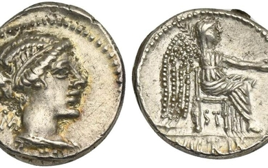 M. Porcius Cato, Denarius, Rome, 89 BC; AR (g 3,95; mm 18; h 3); Draped female bust r.; behind, ROMA; below, M CATO, Rv. Victory seated r., holding patera and palm branch; below, ST; in ex. VICTRIX. Crawford 343/1c; Porcia 6; Sydenham 596a.