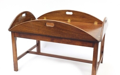 Mahogany butler's tray on stand with brass mounts and Nordis...