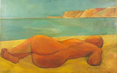 Manner of Elisabeth Frink - Nude female on a beach, oil on c...
