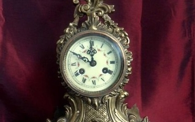 Mantel clock - Bronze and porcelain - Early 20th century