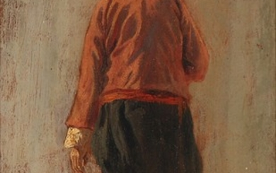 Martinus Rørbye: Study of an Italian fisherman seen from the back. Unsigned. On the reverse inscribed M. Rørbye. Oil on paper laid on cardboard. 26×15 cm.