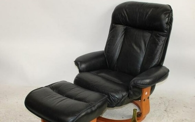 Mid century Modern Black leather chair and ottoman