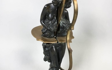 """Modern Bronze Bisected Musician Figure, base signed """"Arman,"""" ht. 16 in."""