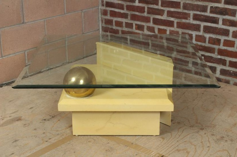 Modern Faux Marble Brass Ball Coffee Table