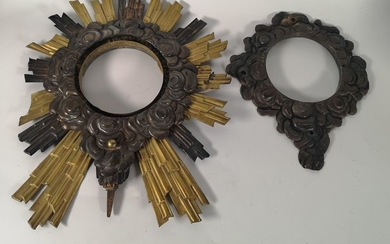 Monstrance parts (2) - Silver + metal - 19th century