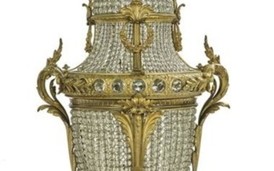 Monumental French Bronze and Crystal Lamp