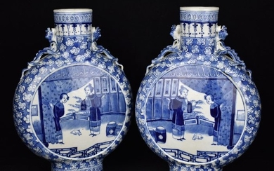 Moonflask, Vase (2) - Blue and white - Porcelain - A pair- China - Late 19th century