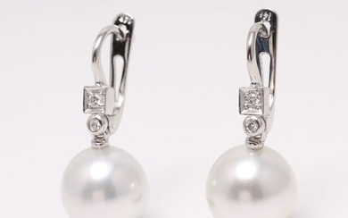 NO RESERVE PRICE - 14 kt. White Gold - 9x10mm Round South Sea Pearls - Earrings - 0.07 ct