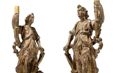 NORTH ITALIAN, LATE 16TH OR EARLY 17TH CENTURY, A PAIR OF TORCHERE BEARING ANGELS