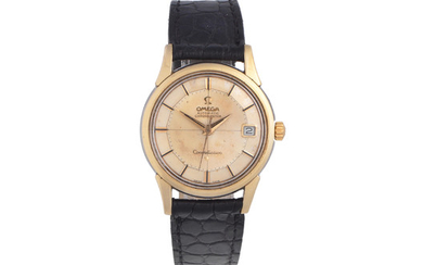 Omega. A gold plated and stainless steel automatic calendar wristwatch with pie-pan dial