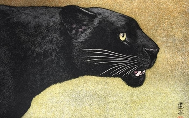 Original woodblock print, Published by Numabe Shinkichi - Animals - Paper - Animals - Black panther - Japan - Heisei period (1989-2019)