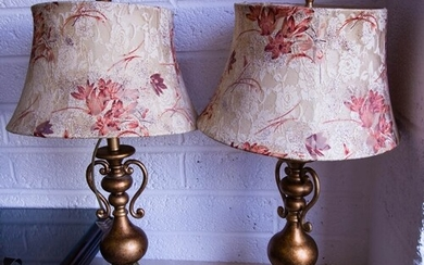 PAIR OF BRONZED TABLE LAMPS + SHADES + PAIR OF PRINTS