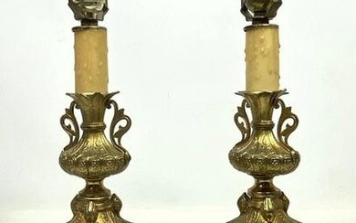 Pair Brass Candle Lamps. Fancy design.
