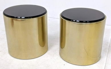 Pair Decorator Springer Style Aluminum and Glass Side T