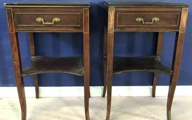 Pair Regency Style End Tables w Drawer & Shelf