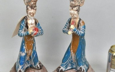 Pair Tang Style Terracotta Figures of Musicians