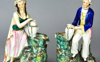 Pair of Antique 19th C Staffordshire Statues