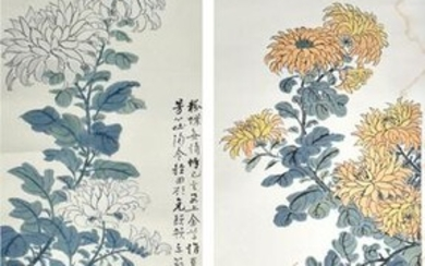 Pair of Chinese Paintings of Flowers by Gao Yehou