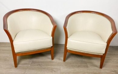 Pair of Faux Ostrich Club Chairs