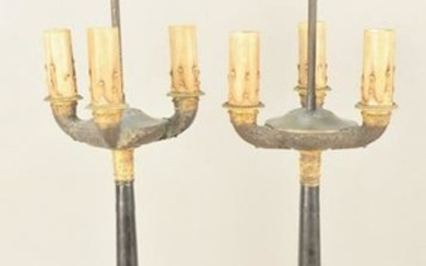 Pair of French Empire candelabras, three bronze arms on