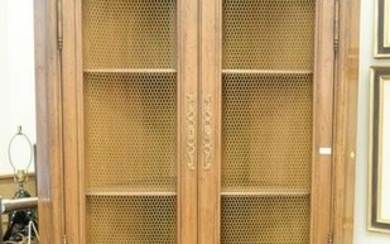 Pair of French style corner cabinets, with grill work