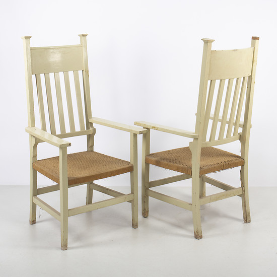 Pair of Modernist armchairs in painted wood, early 20th Century.