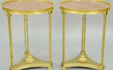 Pair of Neoclassical Style Dore Bronze Gueridons, with