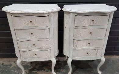 Pair of White French Style Bedside with Crackle Finish (h:80 x w:48 x d:32cm)