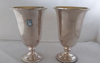 Pair of goblets , Goblet (2) - .925 silver, polychrome enamels- R. Miracoli - Milano- Italy - Mid 20th century