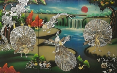Panels (3) - Lacquer, Mother of pearl - Vietnam - contemporary