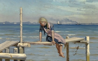 Peder Mønsted: A girl on a small jetty near Hellebæk. In the background Sweden. Signed and dated P. Mønsted 1892. Oil on cardboard. 29×23 cm.
