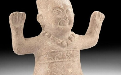Playful Olmec Pottery Seated Baby
