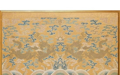 RARE IMPERIAL YELLOW-GROUND SILK BROCADE