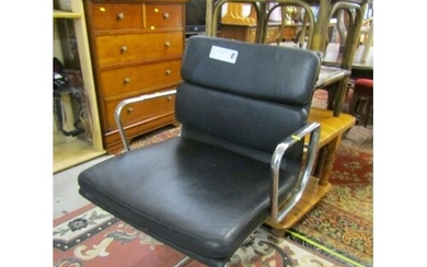 RETRO SWIVEL CHAIR, Chrome framed and black leather effect c...