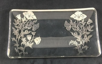 Rectangular Glass Tray with Silver Overlay
