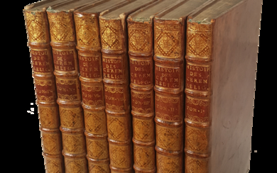 Religious Ceremonies and Customs. Picart and Bernard. First French Edition. Paris, 1741. Original leather bindings. Gilt spine