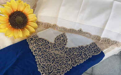 Rich sheet in pure linen Cantù embroidery by hand - Linen - AFTER 2000