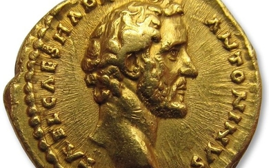Roman Empire - AV gold aureus Antoninus Pius as Caesar - struck under emperor Hadrian - Rome mint 138 A.D. - AVG PIVS P M TR P COS DES II - superb quality coin - Gold