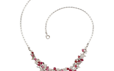 Ruby, Diamond, White Gold Necklace The necklace features pear-shaped...