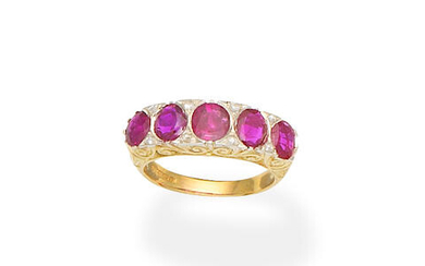 Ruby and diamond five-stone ring, 1993