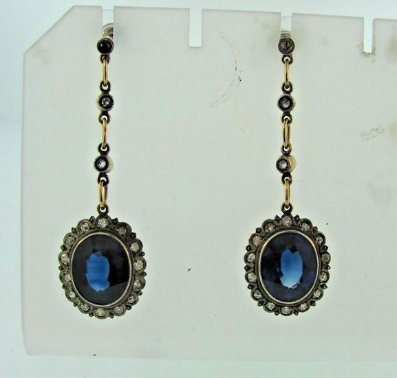SAPPHIRES DIAMONDS RUSSIAN EARRINGS YELLOW GOLD AND