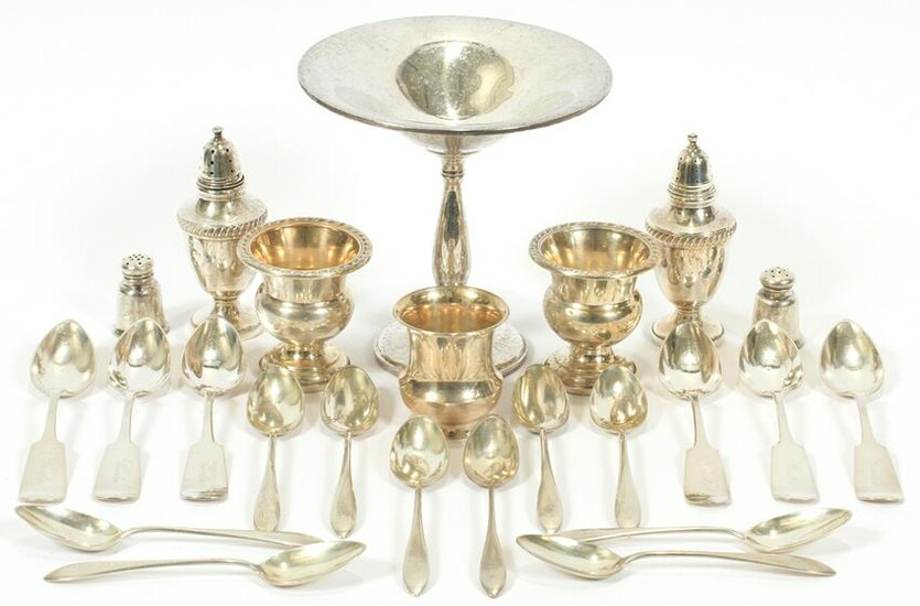 STERLING SILVER SPOONS, COMPOTE, PEPPER & EGG CUPS